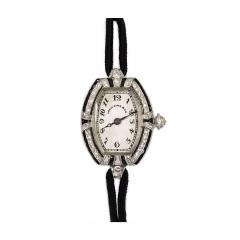 Spaulding Co Art Deco Diamond and Onyx Watch with Cord Band Spaulding Co Swiss Movement - 675125