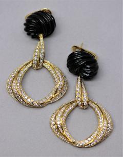 Spectacular Black Jade and Diamond Earrings by Robert Wander - 1618947