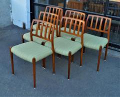 Spectacular Sculptural Set of 6 Model 83 Moller Chairs in Celery Tweed - 2093768