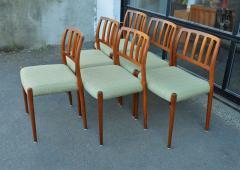 Spectacular Sculptural Set of 6 Model 83 Moller Chairs in Celery Tweed - 2093829