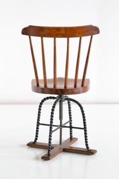 Spindle Back Swivel Desk Chair in Elm and Turned Wrought Iron Sweden 1920s - 1664882