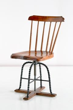 Spindle Back Swivel Desk Chair in Elm and Turned Wrought Iron Sweden 1920s - 1664883