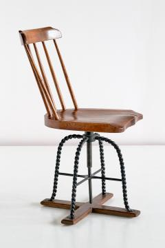 Spindle Back Swivel Desk Chair in Elm and Turned Wrought Iron Sweden 1920s - 1664884