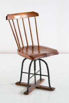 Spindle Back Swivel Desk Chair in Elm and Turned Wrought Iron Sweden 1920s - 1664887