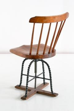Spindle Back Swivel Desk Chair in Elm and Turned Wrought Iron Sweden 1920s - 1664888