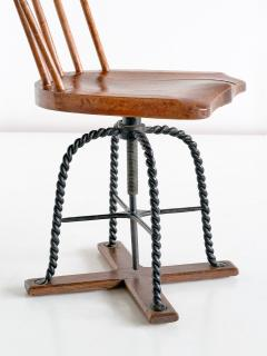 Spindle Back Swivel Desk Chair in Elm and Turned Wrought Iron Sweden 1920s - 1664889