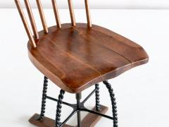 Spindle Back Swivel Desk Chair in Elm and Turned Wrought Iron Sweden 1920s - 1664890