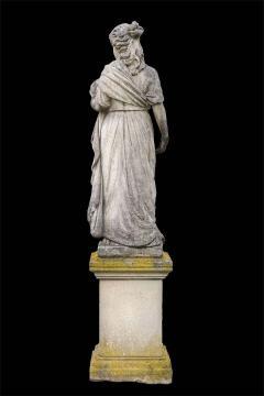 Splendid Italian Carved Large Stone Garden Sculpture Symbol of the Science - 1527680
