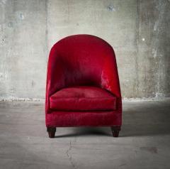 Spoonback Armchair in Red Cowhide Upholstery - 406828