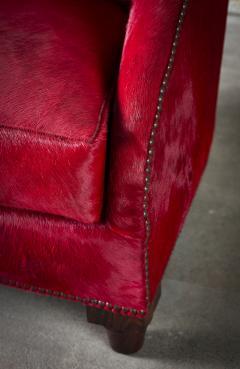 Spoonback Armchair in Red Cowhide Upholstery - 406829