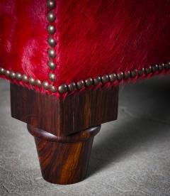 Spoonback Armchair in Red Cowhide Upholstery - 406831