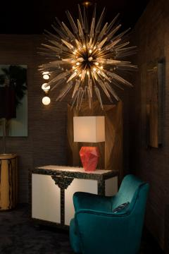 Sputnik Shard Chandelier with Murano Glass and Brass Made in Italy - 1455310