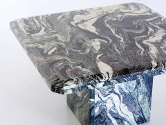 Square Side Table in Green Cipollino Marble Italy 1970s - 1409152