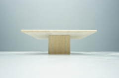 Square Travertine Coffee Table Italy 1970s - 1378525
