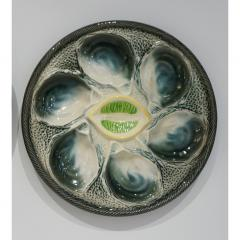 St Clement Factory St Clement French Art Deco Majolica Set of 6 Oyster Plates and Serving Platter - 1646906