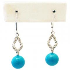Stabilized Turquoise with Diamonds Earrings 14KT White Gold - 1674649
