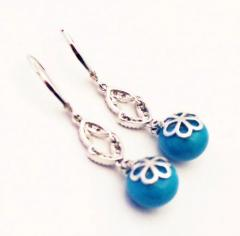 Stabilized Turquoise with Diamonds Earrings 14KT White Gold - 1674651