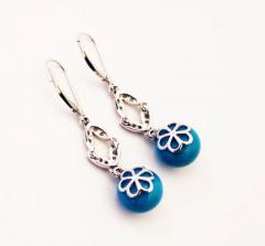 Stabilized Turquoise with Diamonds Earrings 14KT White Gold - 1674652