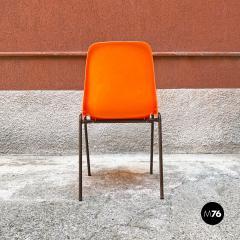 Stackable orange plastic chairs 1960s - 2135215