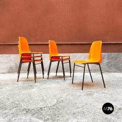 Stackable orange plastic chairs 1960s - 2135239