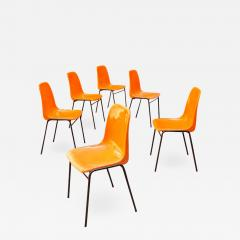 Stackable orange plastic chairs 1960s - 2139136
