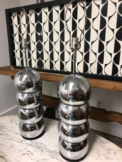Stacked Chrome ball table lamp pair - 1004619