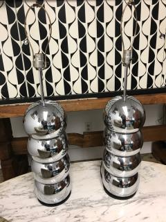 Stacked Chrome ball table lamp pair - 1004620