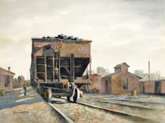 Stan Masters Coal Car Inspection Watercolor on Paper - 1392145