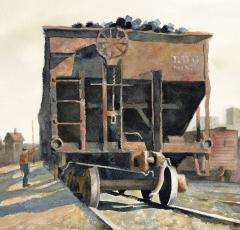 Stan Masters Coal Car Inspection Watercolor on Paper - 1392154
