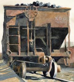 Stan Masters Coal Car Inspection Watercolor on Paper - 1392159