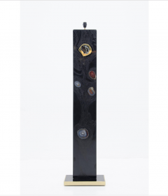 Stan Usel Black resin and agates floor lamp by Stan Usel - 794537