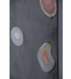 Stan Usel Black resin and agates floor lamp by Stan Usel - 794539
