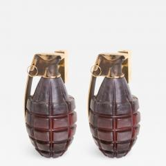Stan Usel Pair of Sconces grenade by Stan Usel in solid bronze and red glass paste - 788230