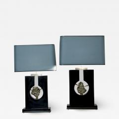 Stan Usel Pair of Table Lamps Black Resin and Pyrite by Stan Usel - 1096357