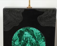 Stan Usel Pair of black resin and malachite table lamps by Stan Usel - 806269