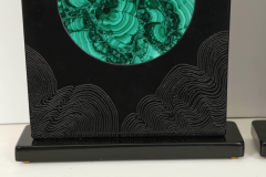 Stan Usel Pair of black resin and malachite table lamps by Stan Usel - 806270