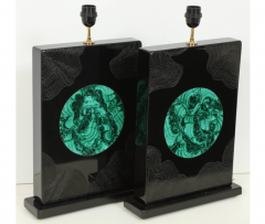 Stan Usel Pair of black resin and malachite table lamps by Stan Usel - 806274