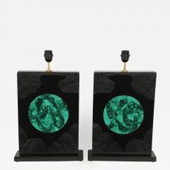 Stan Usel Pair of black resin and malachite table lamps by Stan Usel - 806427
