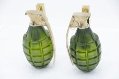 Stan Usel Pair of grenade sconces by Stan Usel green molten glass - 817765