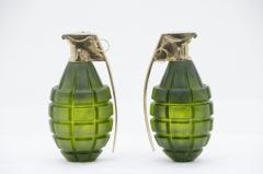 Stan Usel Pair of grenade sconces by Stan Usel green molten glass - 817768
