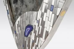 Stan Usel Pair of mirrors mosaic stainless steel and agates by Stan Usel - 832020