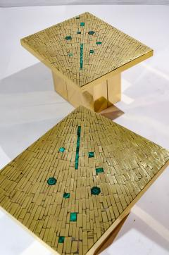 Stan Usel Pair of side table in mosaic brass and malachite by Stan Usel - 1186016