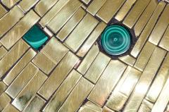 Stan Usel Pair of side table in mosaic brass and malachite by Stan Usel - 1186019