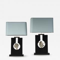 Stan Usel Pair of table lamps in black resin and pyrite by Stan Usel - 813344