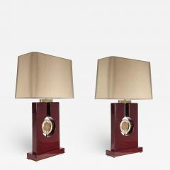 Stan Usel Pair of table lamps in burgundy resin and bronze tribute to Georges Mathieu - 834632