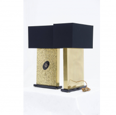 Stan Usel Pair of table lamps in mosaic brass by Stan Usel - 789988