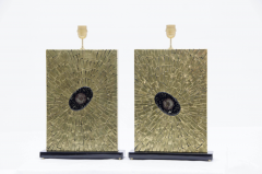 Stan Usel Pair of table lamps in mosaic brass by Stan Usel - 789991