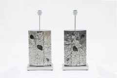 Stan Usel Pair of table lamps mosaic stainless steel inlaid Labradorite by Stan Usel  - 789981