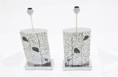Stan Usel Pair of table lamps mosaic stainless steel inlaid Labradorite by Stan Usel  - 789983