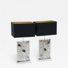 Stan Usel Pair of table lamps mosaic stainless steel inlaid Labradorite by Stan Usel  - 791158